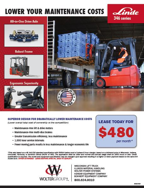 Lease an electric Linde Forklift for $480 per month. Download flyer for full details
