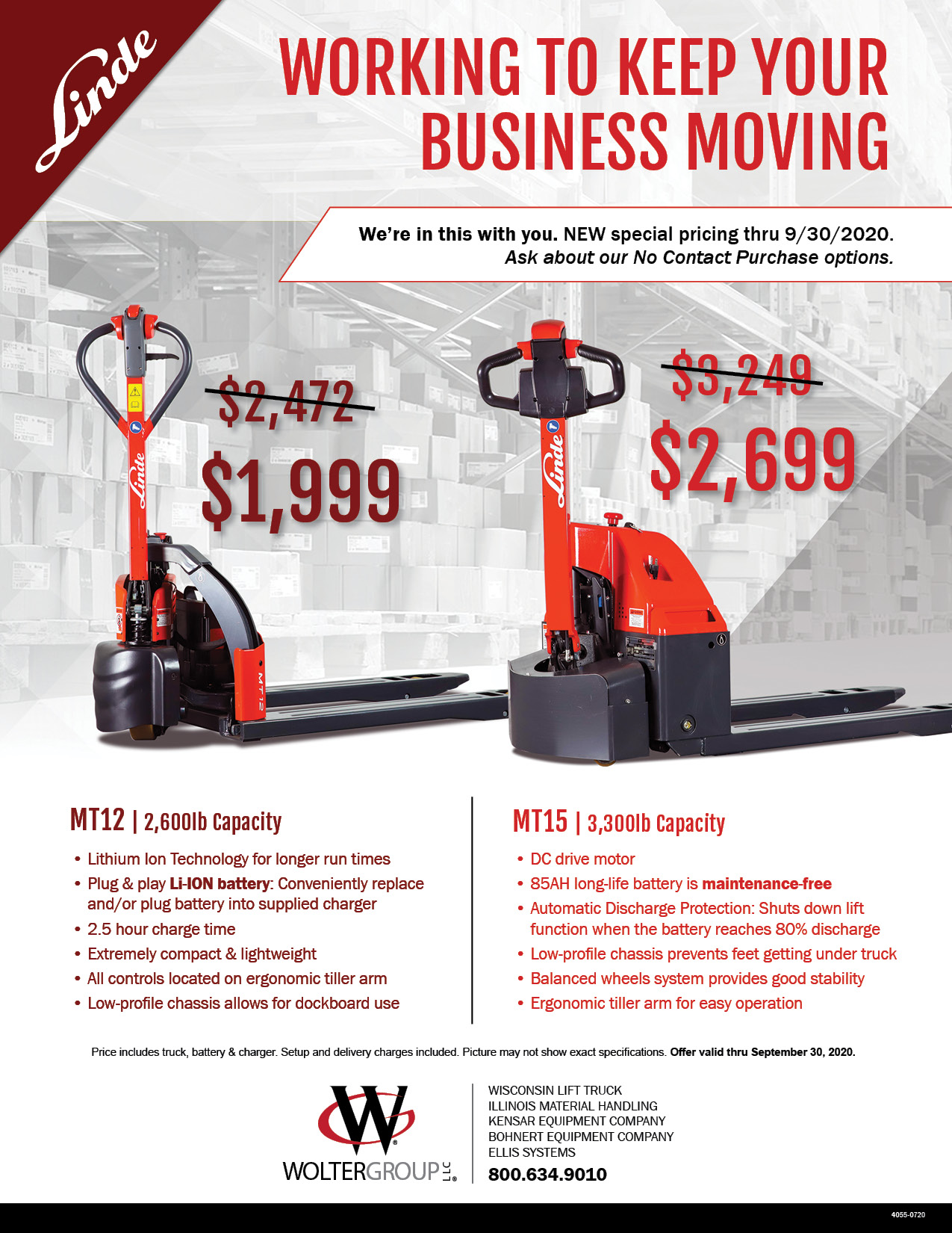 Linde Electric Pallet Trucks on sale from Wolter Group LLC. Order by 9-30-2020 to qualify for special pricing!