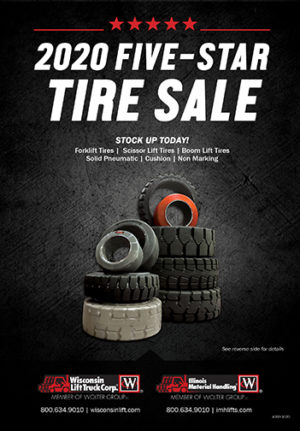 Tire Sale from Wisconsin Lift Truck. Save big on forklift, boom lift, and more tires through December 31, 2020.